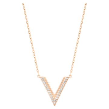 Collar Delta, blanco, Baño en tono Oro Rosa - Swarovski, 5528910