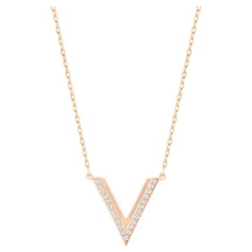 Delta Halskette, Weiss, Roségold-Legierung - Swarovski, 5528910