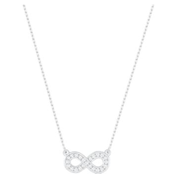 Infinity 项链, 白色, 镀铑 - Swarovski, 5528911