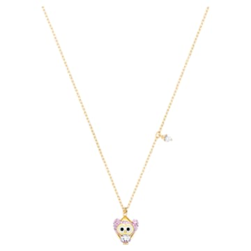 Little Snow pendant, Owl, Multicolored, Gold-tone plated - Swarovski, 5528913