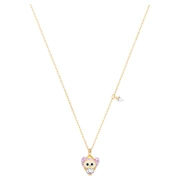 Little Snow pendant, Owl, Multicoloured, Gold-tone plated - Swarovski, 5528913