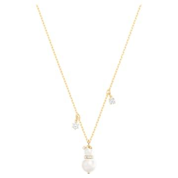 Little Snowman Pendant, White, Gold-tone plated - Swarovski, 5528916