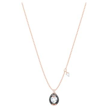 Little Penguin pendant, Multicolored, Rose-gold tone plated - Swarovski, 5528917