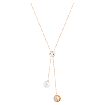 Forward Y形项链, 白色, 镀玫瑰金色调 - Swarovski, 5528924