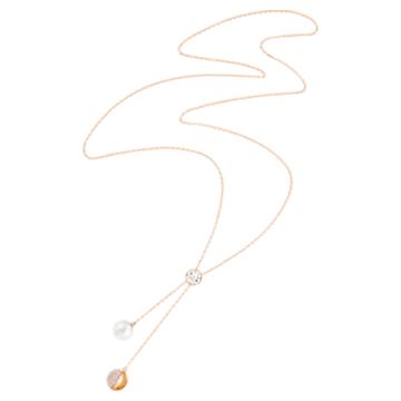 Collier en Y Forward, Blanc, Métal doré rose - Swarovski, 5528924