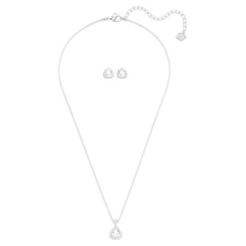 Begin 套装, 白色, 镀铑 - Swarovski, 5528938