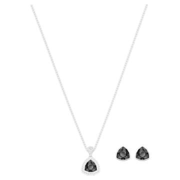 Begin Set, Black, Rhodium plated - Swarovski, 5528939