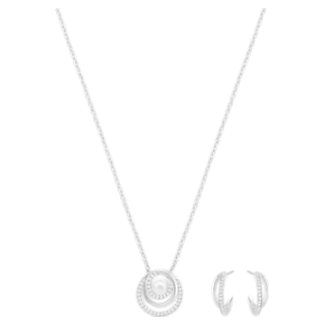 Free Pearl Set, White, Rhodium plated - Swarovski, 5528946