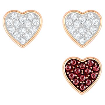 Crystal Wishes Set pendant, Heart, Multicolored, Rose-gold tone plated - Swarovski, 5529347