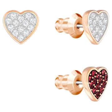 Pendentif Crystal Wishes Set, Cœur, Multicolore, Métal doré rose - Swarovski, 5529347