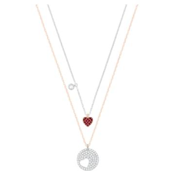 Crystal Wishes Heart medál, Szív, Piros, Vegyes fém kivitelben - Swarovski, 5529569