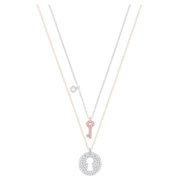 Crystal Wishes Key Pendant, Pink, Mixed metal finish - Swarovski, 5529570