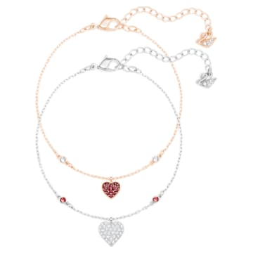 Crystal Wishes Heart Set 手链, 心形, 红色, 多种金属润饰 - Swarovski, 5529600