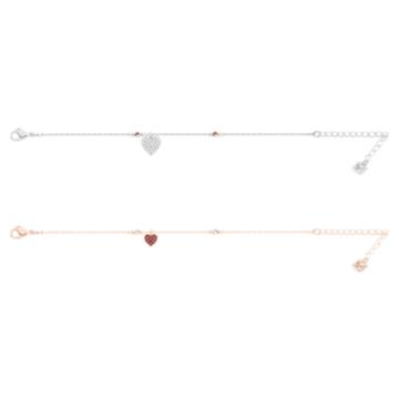 Conjunto Crystal Wishes Heart, rojo, Combinación de acabados metálicos - Swarovski, 5529600