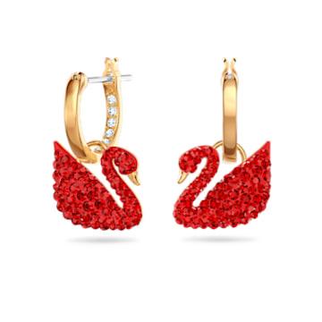 Swarovski Iconic Swan 穿孔耳環, 天鵝, 紅色, 鍍金色色調 - Swarovski, 5529969
