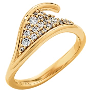 Gilded Treasures Simple Ring, White, Gold-tone plated - Swarovski, 5532484