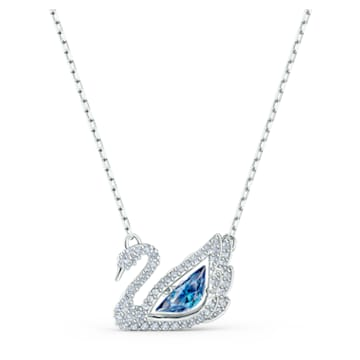 Collana Dancing Swan, azzurro, placcato rodio - Swarovski, 5533397