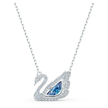 Collier Dancing Swan, Cygne, Bleu, Métal rhodié - Swarovski, 5533397