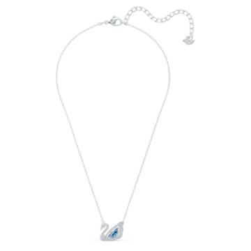 Dancing Swan 項鏈, 藍色, 鍍白金色 - Swarovski, 5533397