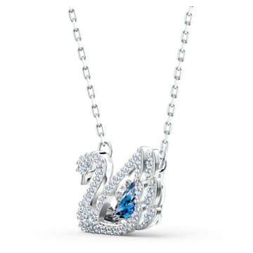 Collier Dancing Swan, bleu, métal rhodié - Swarovski, 5533397