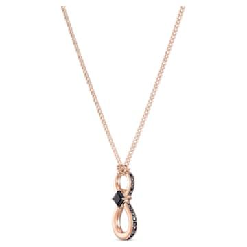 Pendente Swarovski Infinity, Infinito, Nero, Placcato color oro rosa - Swarovski, 5533722