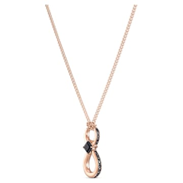 Swarovski Infinity 鏈墜, 黑色, 鍍玫瑰金色調 - Swarovski, 5533722