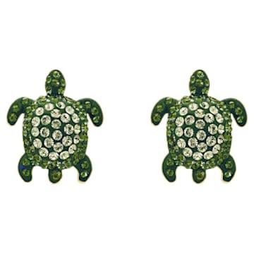 Boucles d'oreilles Mustique Sea Life Turtle, vert, métal doré - Swarovski, 5533757