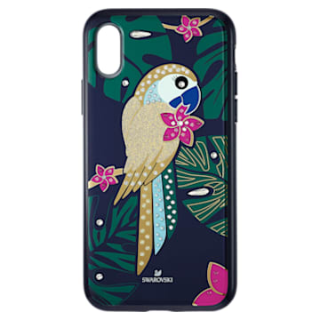 Funda para smartphone con protección rígida Tropical Parrot, iPhone® XS Max, colores oscuros - Swarovski, 5533973
