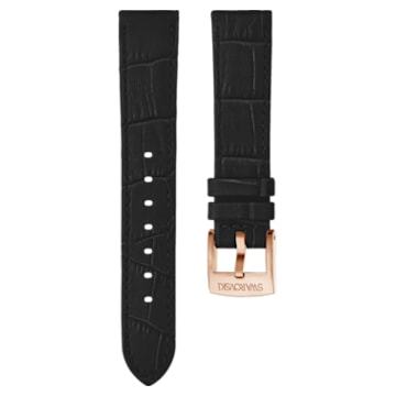 20 mm-es óraszíj, varrott bőr, fekete, rozéarany árnyalatú bevonattal - Swarovski, 5534394