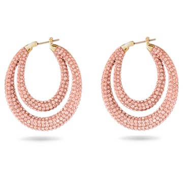 Tigris 大圈耳環, 粉紅色, 鍍金色色調 - Swarovski, 5534512