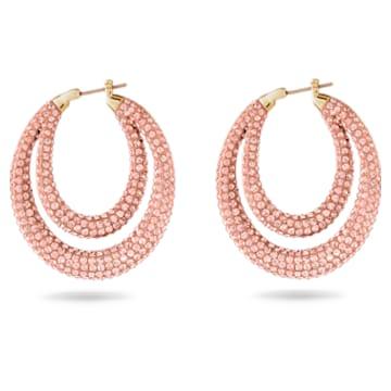 Tigris hoop earrings, Pink, Gold-tone plated - Swarovski, 5534512