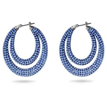 Anneaux d'oreilles Tigris, Bleu, Métal plaqué ruthénium - Swarovski, 5534514