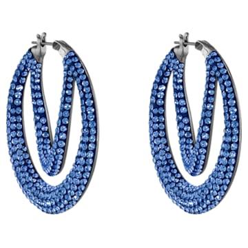 Tigris hoop earrings, Blue, Ruthenium plated - Swarovski, 5534514