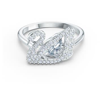 Dancing Swan Ring, White, Rhodium plated - Swarovski, 5534843