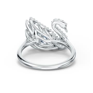 Dancing Swan ring, Swan, White, Rhodium plated - Swarovski, 5534844