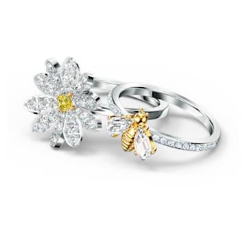 Eternal Flower 戒指套裝, 黃色, 多種金屬潤飾 - Swarovski, 5534935