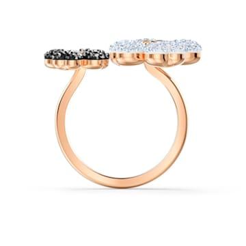 Latisha Кольцо, Черный Кристалл, Покрытие оттенка розового золота - Swarovski, 5534939