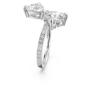 Attract Soul Heart Ring, White, Rhodium plated - Swarovski, 5535192