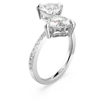 Inel inimă Attract Soul, alb, placat cu rodiu - Swarovski, 5535193