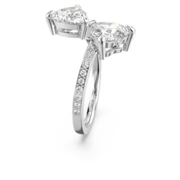 Attract Soul Heart Кольцо, Белый Кристалл, Родиевое покрытие - Swarovski, 5535328