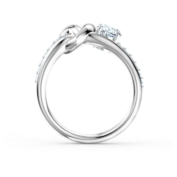 Lifelong Heart Ring, White, Rhodium plated - Swarovski, 5535402