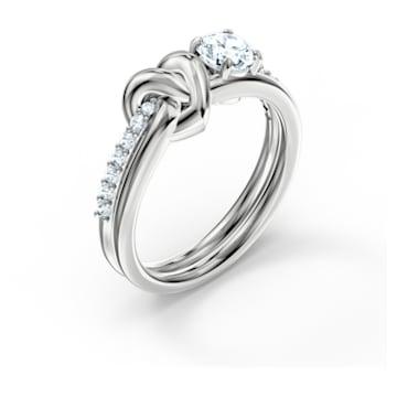 Pierścionek Lifelong Heart, biały, powlekany rodem - Swarovski, 5535409