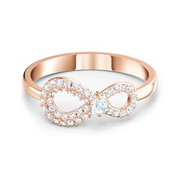 Swarovski Infinity 戒指, 白色, 鍍玫瑰金色調 - Swarovski, 5535413