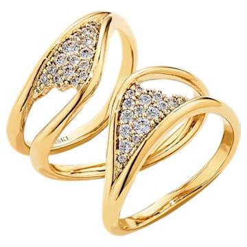 Pozłacany szeroki pierścionek z kolekcji Gilded Treasures, biały, powlekany złotem - Swarovski, 5535549