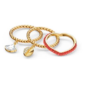 Shell Ring Set, Red, Gold-tone plated - Swarovski, 5535561