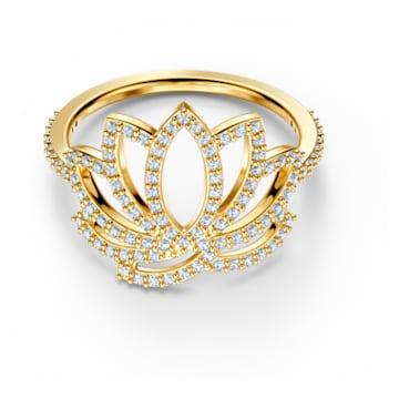 Pierścionek z symbolem kwiatu lotosu z kolekcji Swarovski Symbolic, biały, powłoka w odcieniu złota - Swarovski, 5535601