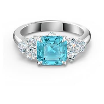 Sparkling Ring, Aqua, Rhodium plated - Swarovski, 5535603