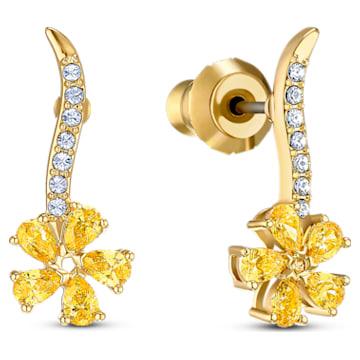 Τρυπητά σκουλαρίκια Λουλούδι Botanical, κίτρινα, επιχρυσωμένα - Swarovski, 5535796
