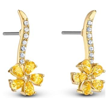 Botanical Flower bedugós fülbevalók, sárga, arany árnyalatú bevonattal - Swarovski, 5535796