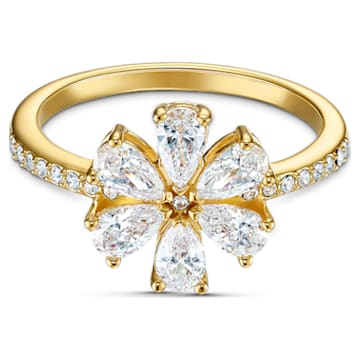 Anello Botanical Flower, bianco, placcato color oro - Swarovski, 5535798